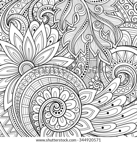 Monochrome Floral Background. Hand Drawn Ornament with Flowers. Template for Greeting Card - stock photo