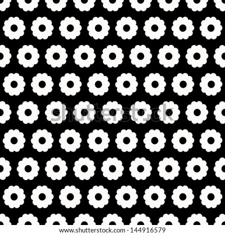 Monochrome floral seamless pattern - raster version - stock photo