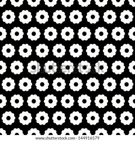 Monochrome floral seamless pattern - raster version - stock photo