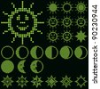 monochrome fluorescent dot-based astronomical icon set with sun. moon and stars for control screens and web design. more icons are available. raster version - stock photo