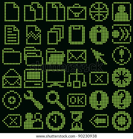 monochrome fluorescent dot-based icon big set for control screens and web design. more icons are available - stock photo