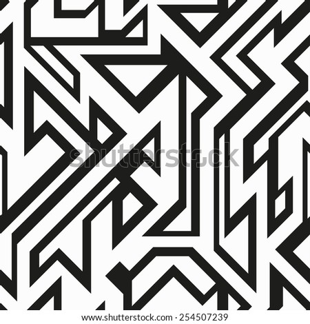 monochrome futuristic geometric seamless pattern (raster version)