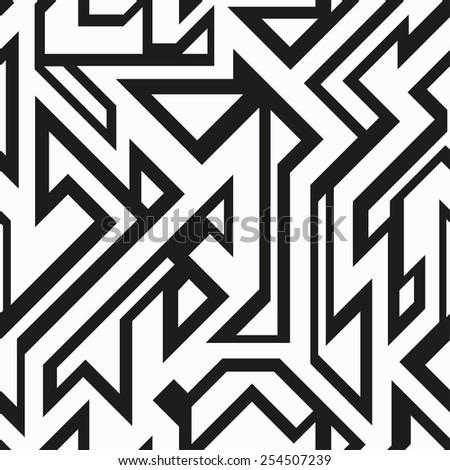 monochrome futuristic geometric seamless pattern (raster version) - stock photo