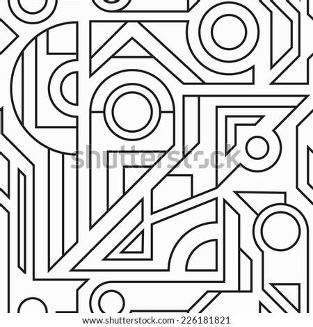 monochrome geometric seamless texture (raster version) - stock photo
