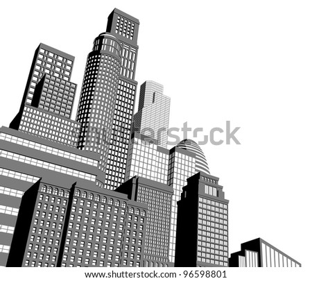 Monochrome gray and black and white city illustration with dramatic perspective - stock photo