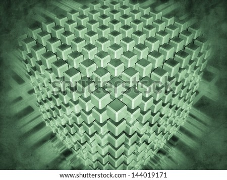 Monochrome green representation of 3D-modeled set of cubes surrounded with luminous flows, referring to concepts such as convergence, collaboration, databases, networks, as well as high technologies - stock photo