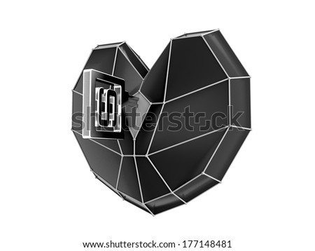 Monochrome heart with  key isolated