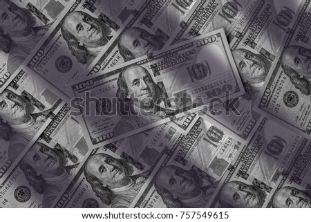 Monochrome heep of hundreds american dollars detailed background.