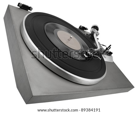Monochrome image of old record player isolated on white with clipping path - stock photo