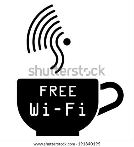 Monochrome Internet cafe free WiFi symbol isolated on white background - stock photo