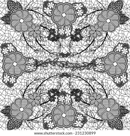 Monochrome lace seamless pattern of flowers and leaves.  - stock photo