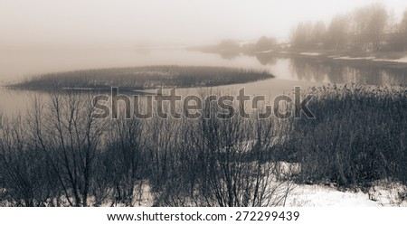 Monochrome landscape in style grunge tinted in sepia. Lake coast in a fog. - stock photo