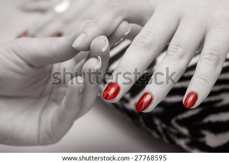 Monochrome manicure - stock photo