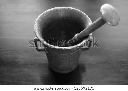 Monochrome Mortar and Pestle on black. - stock photo