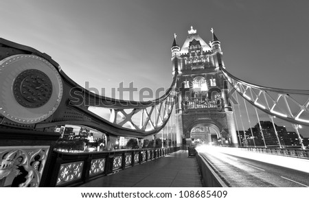 Monochrome night shot of Tower Bridge - stock photo