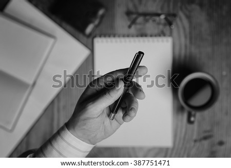 monochrome notebook paper writing tools