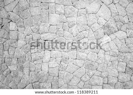 Monochrome of stone wall texture background - stock photo