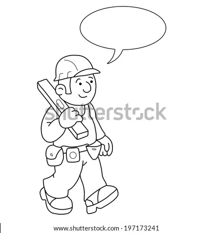 Monochrome outline cartoon builder with speech bubble for own text isolated on white background - stock photo