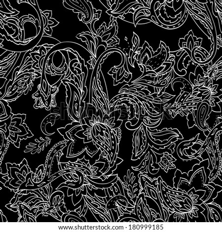 Monochrome paisley pattern. Seamless background. Raster version