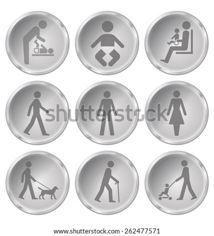 Monochrome people related icon set isolated on white background - stock photo