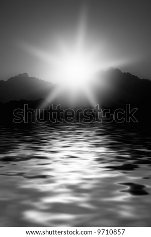 Monochrome picture of a sunrise in mountains - stock photo