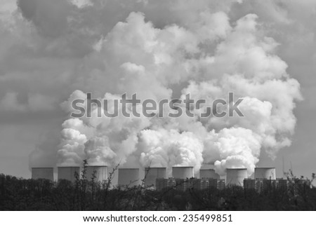 Monochrome picture of Jaenschwalde Power Station, a lignite-fired power station naer Cottbus (Brandenburg, Germany). This power station predominantly fires raw brown coal from nearby open-pit mining. - stock photo