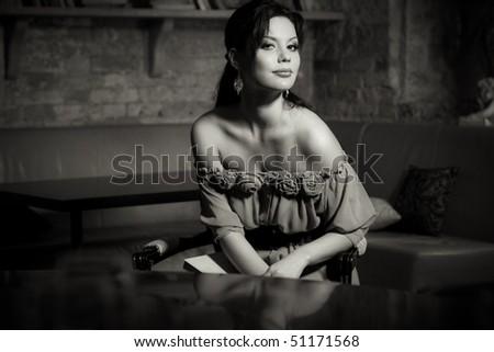 Monochrome portrait of a beautiful woman - stock photo