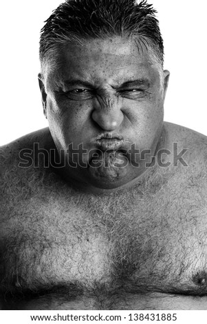 Monochrome portrait of an expressive man - stock photo