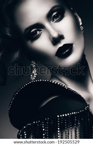 monochrome portrait of elegant woman - stock photo