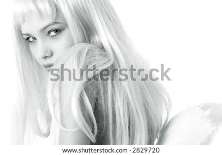monochrome portrait of lovely blond with angel wings
