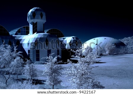 Monochrome presentation of the biosphere 2 in Arizona - stock photo