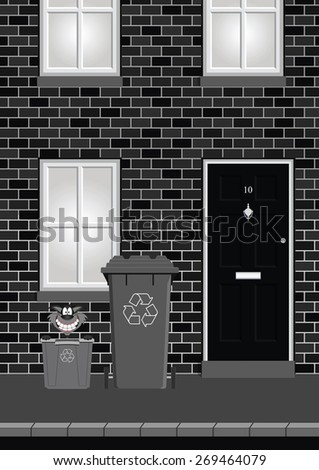 Monochrome residential house on street with recycling bins out ready for collection - stock photo