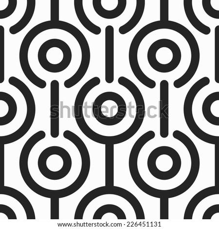 monochrome retro circle seamless pattern (raster version) - stock photo