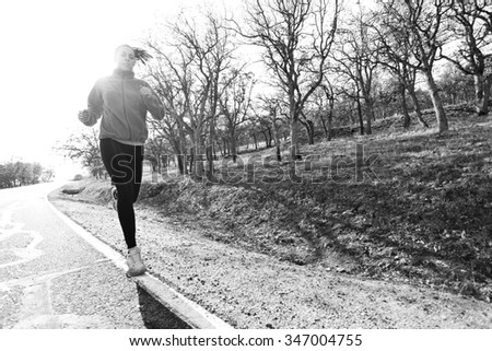 Monochrome runner - stock photo