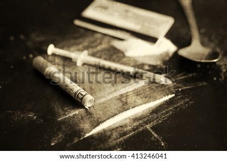 monochrome scratch cocaine dollar banknote - stock photo