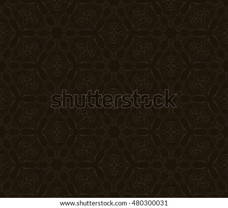 Monochrome seamless pattern background made of repeating scanned elements of handmade crochet lace