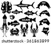monochrome set of silhouettes of different sea products - stock vector