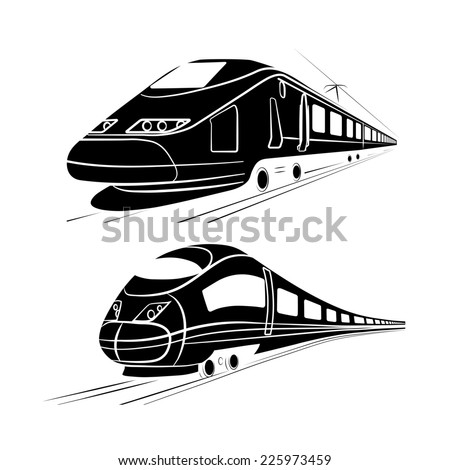 monochrome silhouette of the high-speed passenger train - stock photo