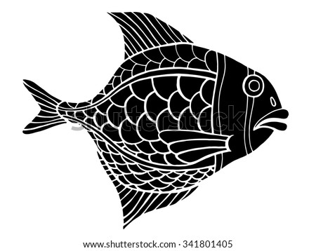 Monochrome stylized Fish. Hand Drawn doodle illustration isolated on white background. Sketch for tattoo or makhenda. Sea food collection.