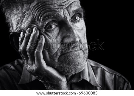 Monochrome stylized portrait of an expressive old man