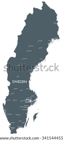Monochrome Sweden map