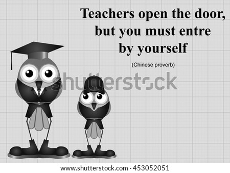 Monochrome Teachers open the door Chinese proverb on graph paper background with copy space for own text