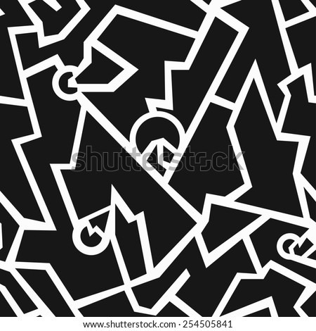 monochrome tech geometric seamless pattern (raster version) - stock photo