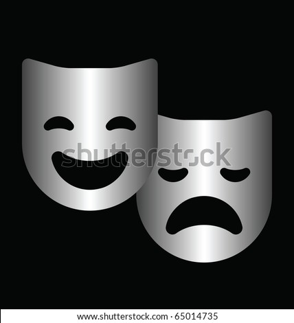 Monochrome theater masks isolated on a black background - stock photo