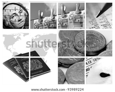 Monochrome version of twelve images relating to business and finance - stock photo