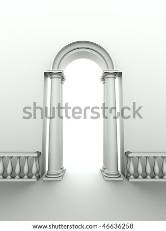 monochromic image of classical entrance with arc, columns and balustrade - stock photo