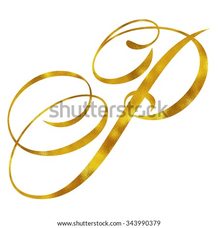 Monogram P Gold Faux Foil Monograms Metallic Initials Isolated White Background - stock photo