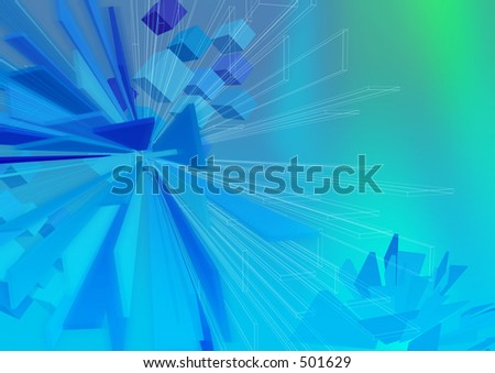 Monolith shapes with wireframe A3. Use as is or overlay with text or other elements. - stock photo