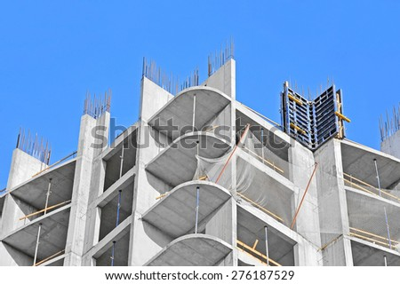 Monolithic building construction site work from concrete