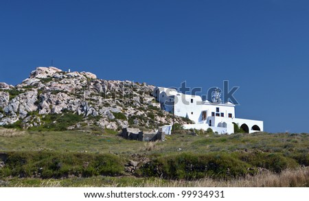 Monolithos at Santorini island in aegean sea at Greece - stock photo